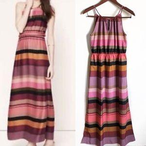 LOFT Multicolor Striped Keyhole Maxi Dress